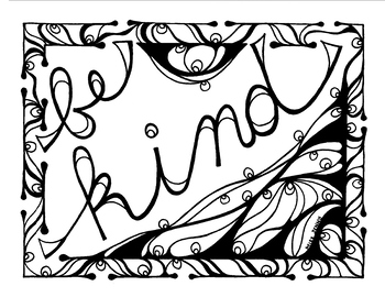 350x270 Be Kind Coloring Page Summer