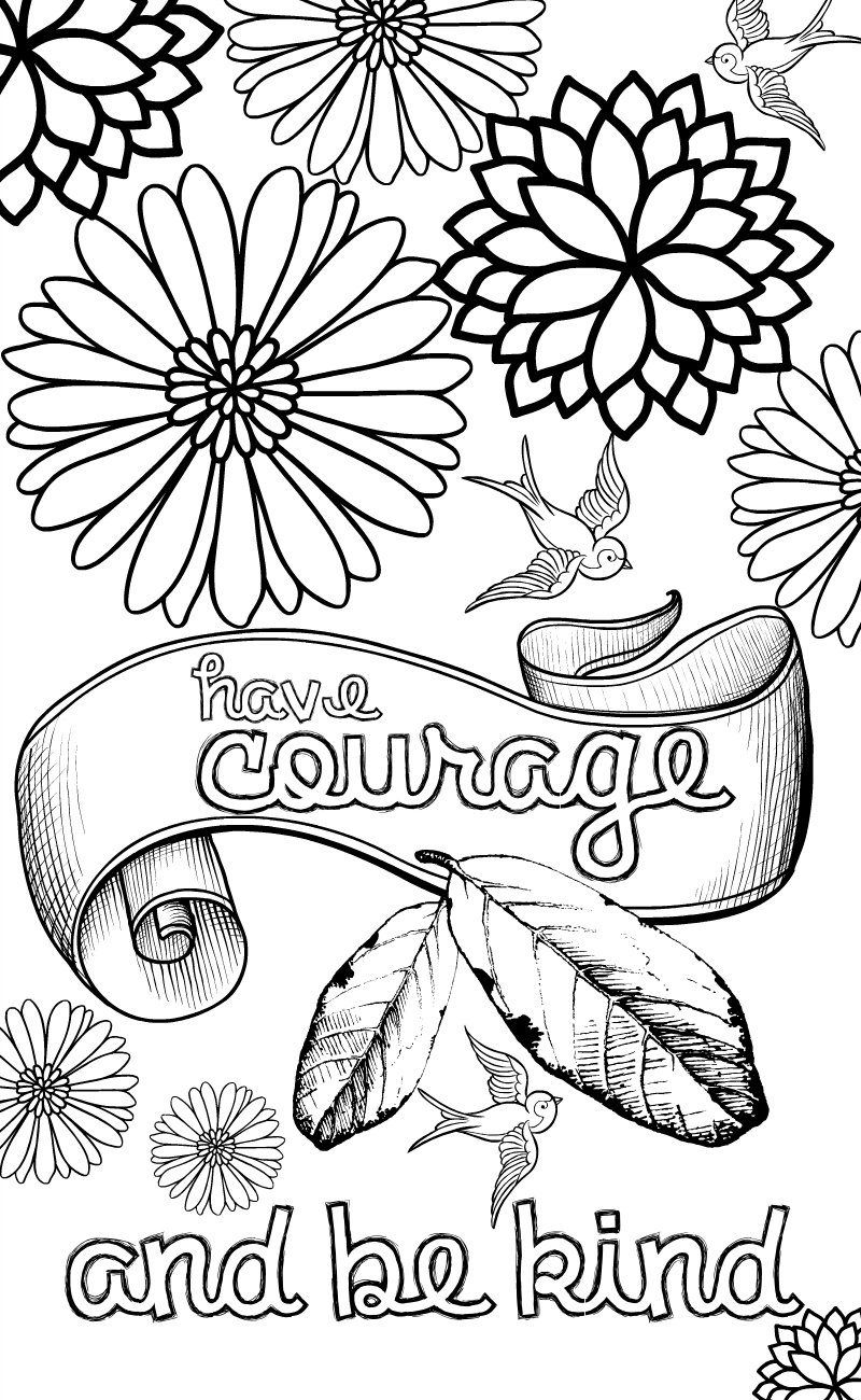 800x1300 Cinderella Inspired Grown Up Colouring Pages Have Courage And Be