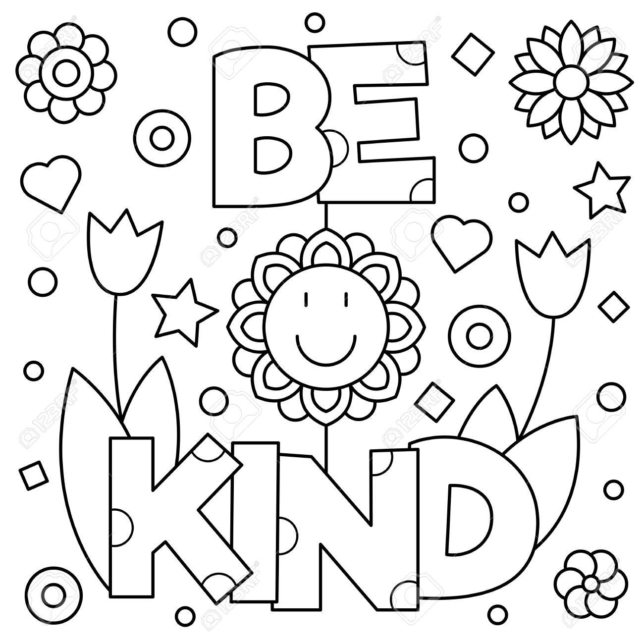 1300x1300 Free Vector Coloring Pages Beautiful Be Kind Coloring Page Black