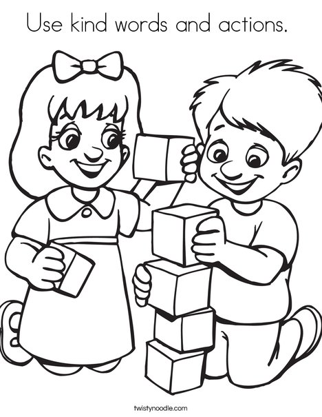 468x605 Use Kind Words And Actions Coloring Page