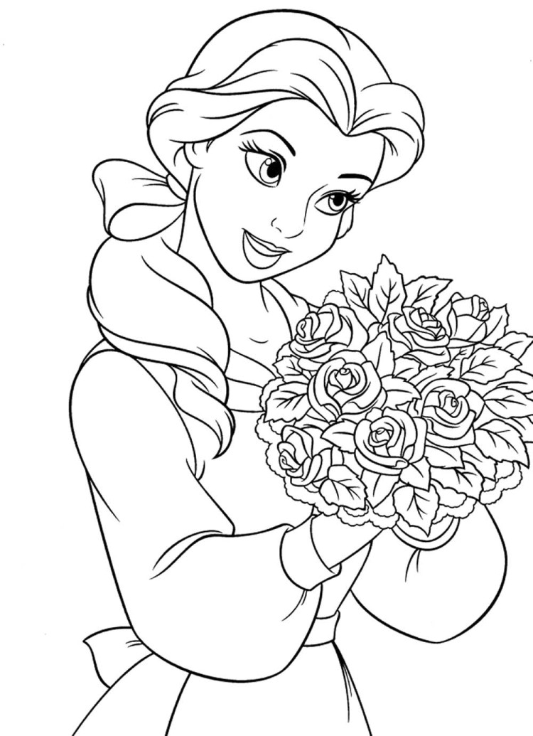 750x1035 Princess Belle With Roses Coloring Pages Colorables Disney