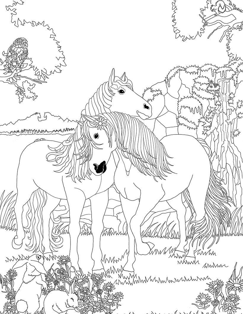 820x1060 Coloriage Chevaux Amoureux Dans Bella Sara My Coloring Pages