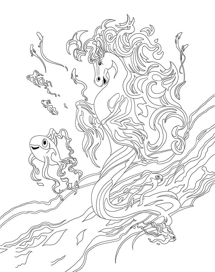 820x1039 Coloriage Tumash, Le Cheval Aquatique De Bella Sara Coloring