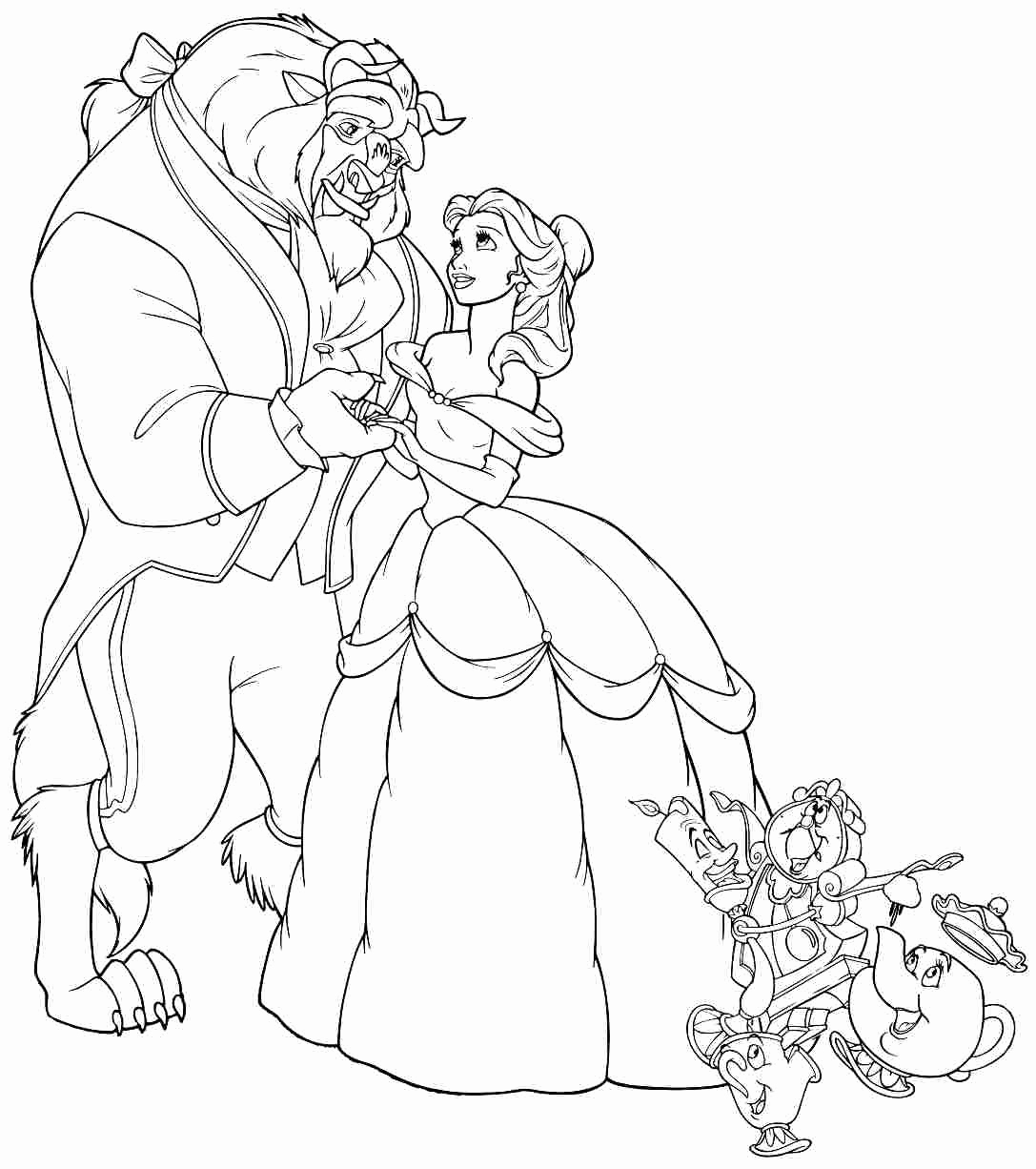 Belle And Beast Coloring Pages