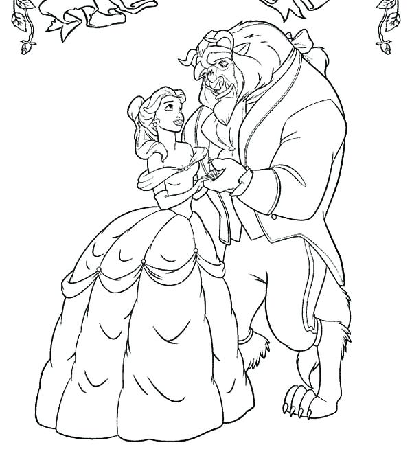 600x683 Beauty And The Beast Coloring Sheets Belle And The Beast Coloring