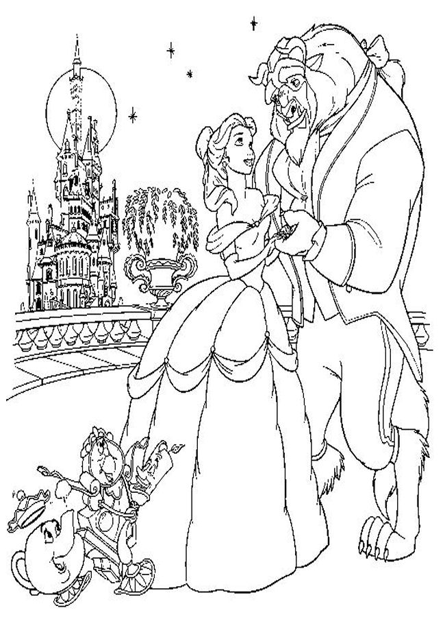 650x900 Disney Beauty The Beast Coloring Pages Disney Beauty