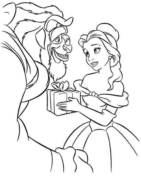 600x748 Belle Give The Beast A Present Coloring Page Belle Give The Beast