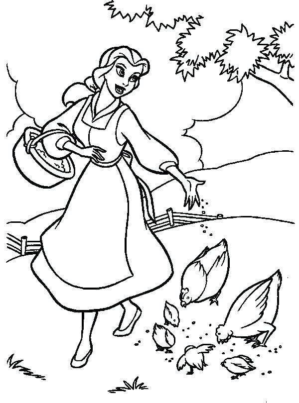 600x810 Belle Coloring Page Belle Princess Coloring Pages Belle Feeding