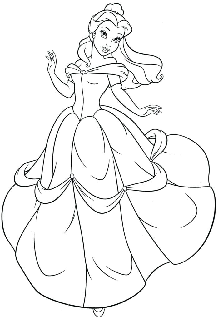 698x1024 Disney Princess Belle Para Colorear Belle Princess Coloring Pages