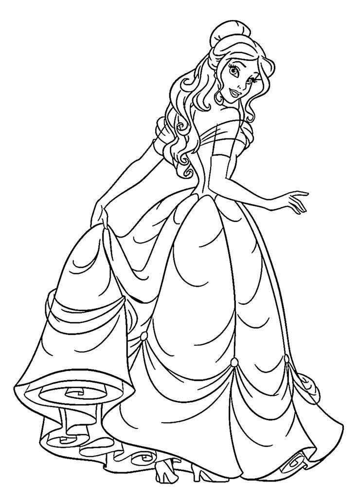 Belle Disney Princess Coloring Pages At Getdrawings Free Download