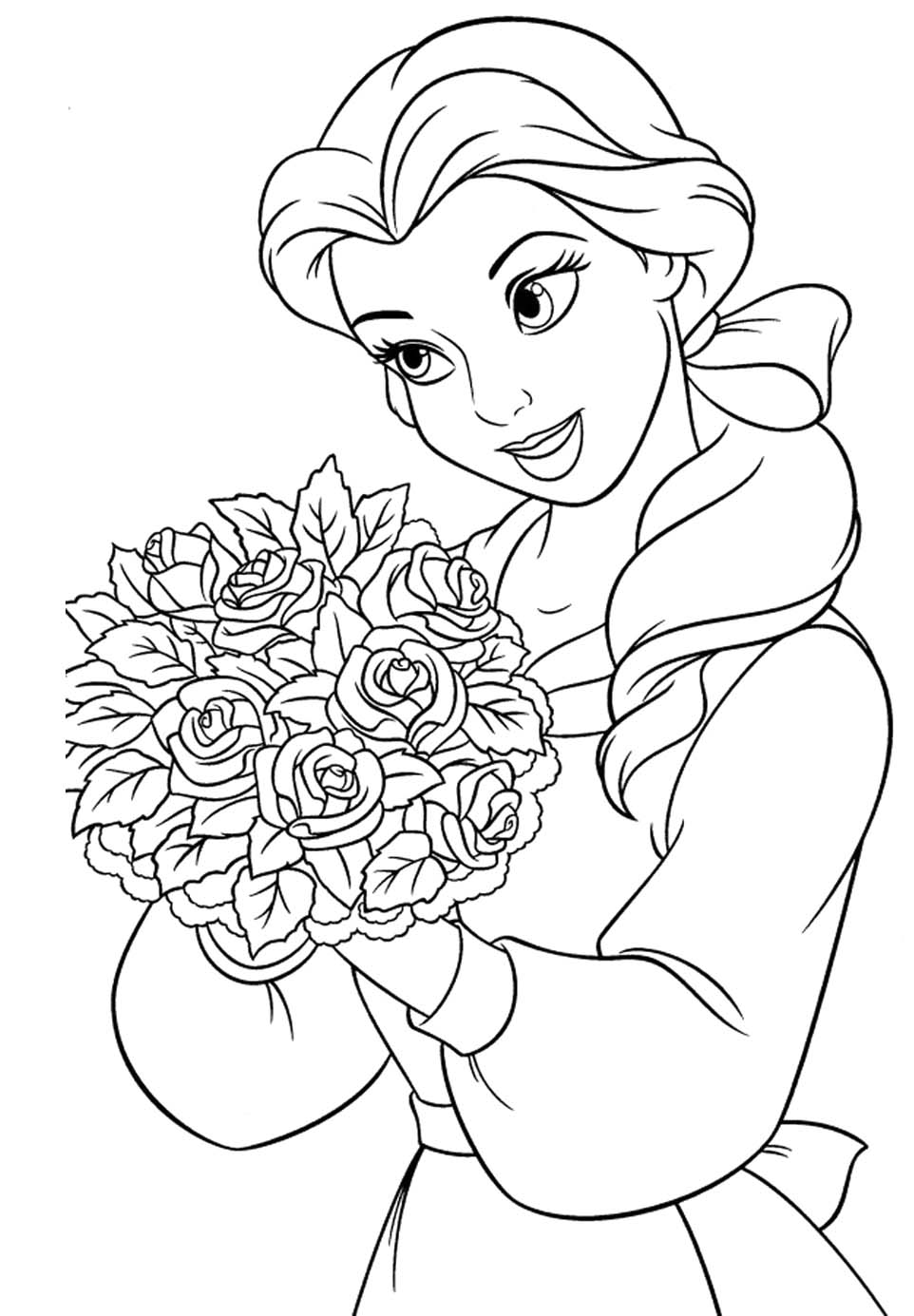 962x1385 Princess Belle Carry Flowers Coloring Pages Princessglitter