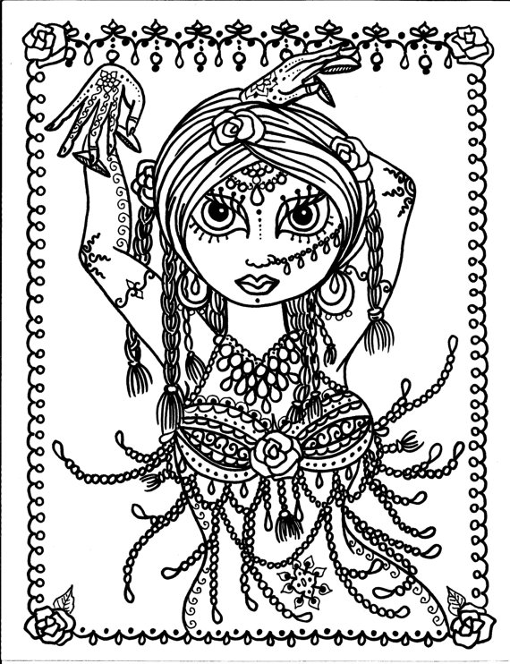 570x742 Pages Belly Dancer Coloring Pages Digital Instant