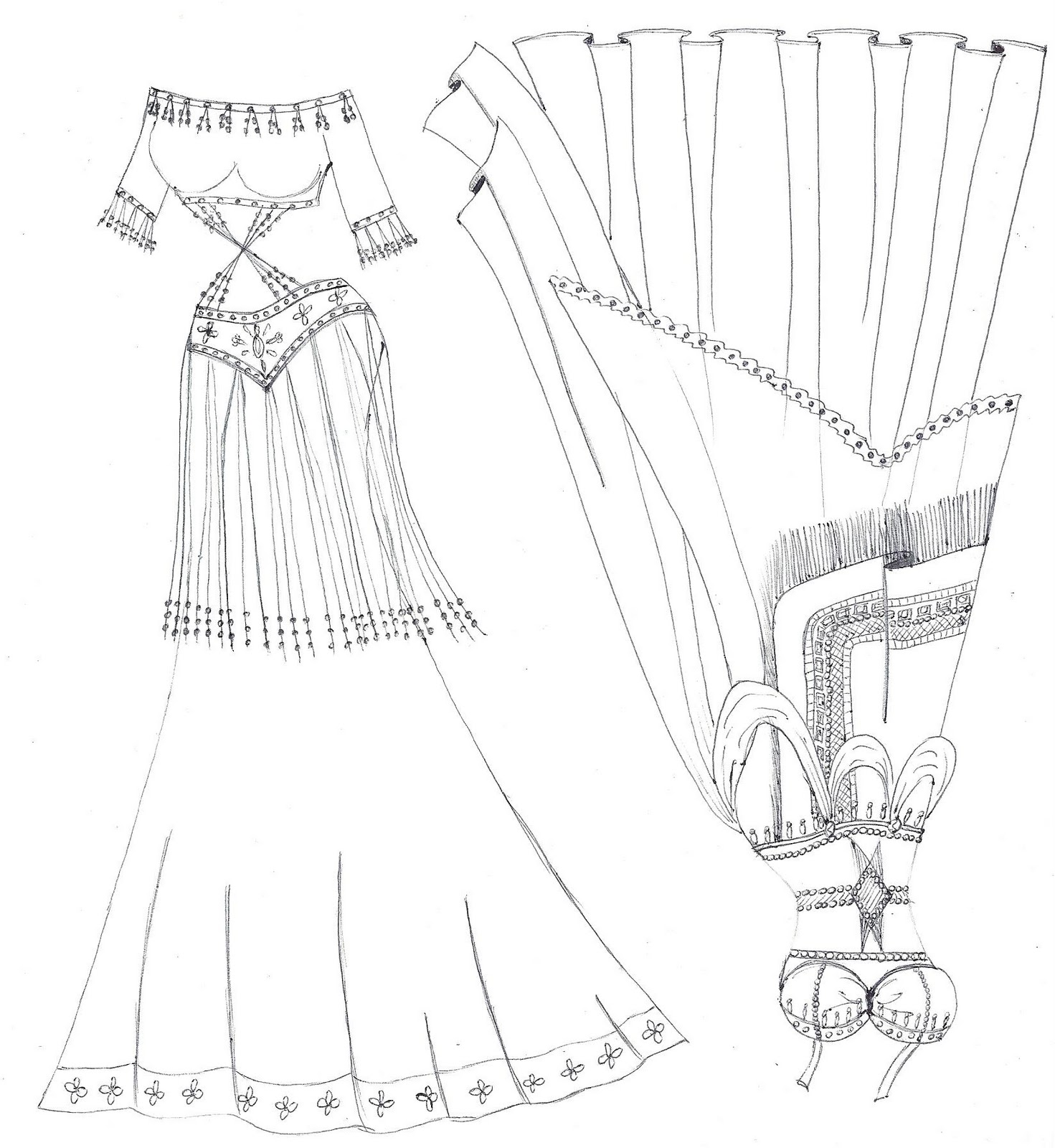1471x1600 Paper Doll Eve Belly Dancer Costumes Coloring Page Trajes De