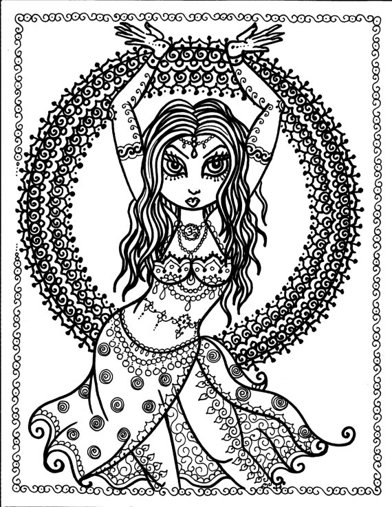 570x737 Pages Instant Download Belly Dancer Coloring Pages Digital