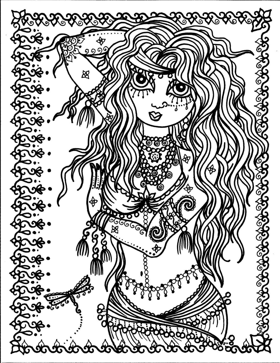 1158x1500 Pages Belly Dancer Coloring Pages Digital Instant Download
