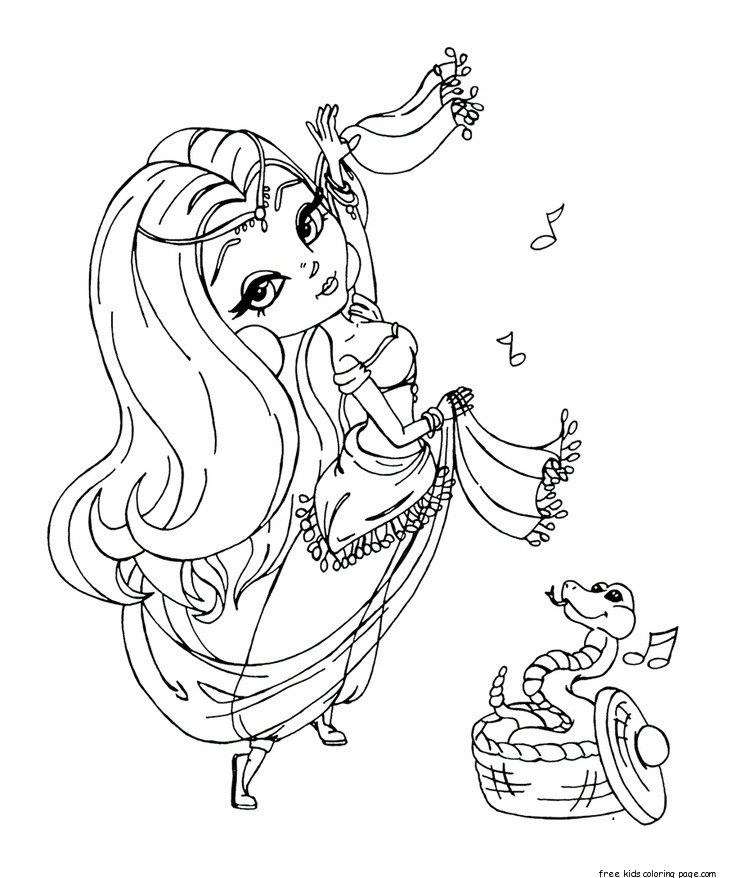 736x878 Printable Beautiful Girl Belly Dancer Coloring Book Pages