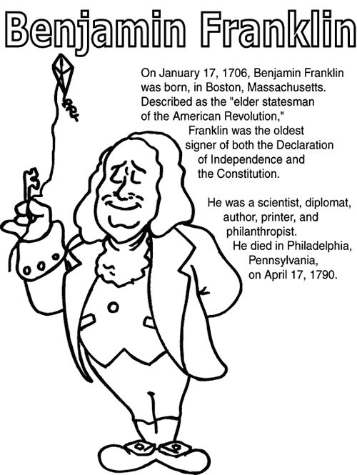 Ben Franklin Coloring Page