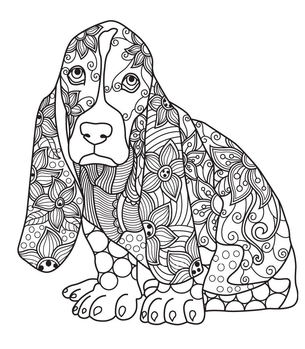 1046x1198 Dog Colorish Coloring Book For Adults Mandala Relax