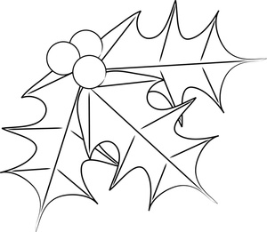 300x261 Free Free Holly Coloring Pages Clip Art Image