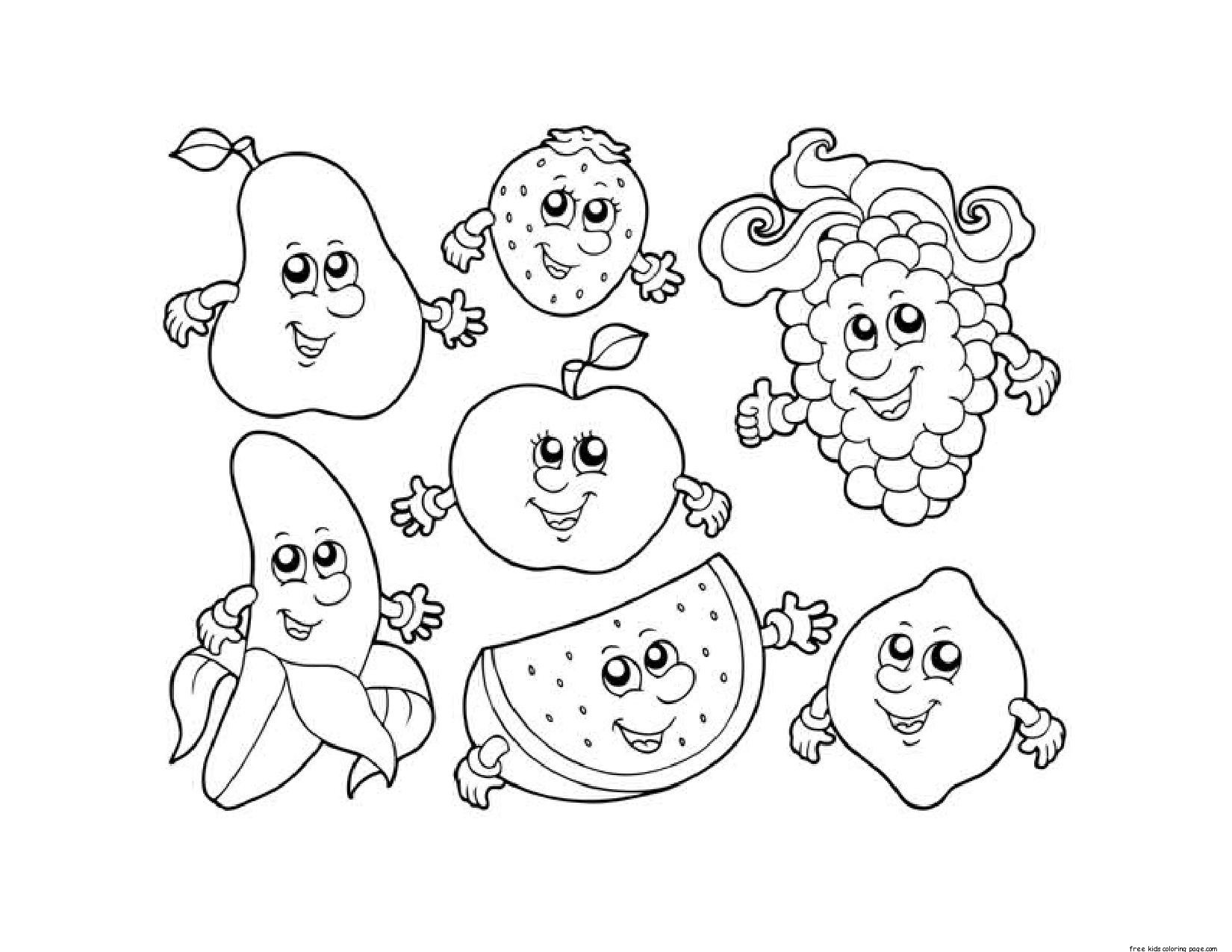 1650x1275 Fruit And Vegetables Coloring Pages Of For Kids Colouring