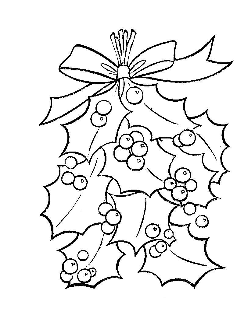800x1104 Holly Leaves With Bright Red Berries Coloring Page