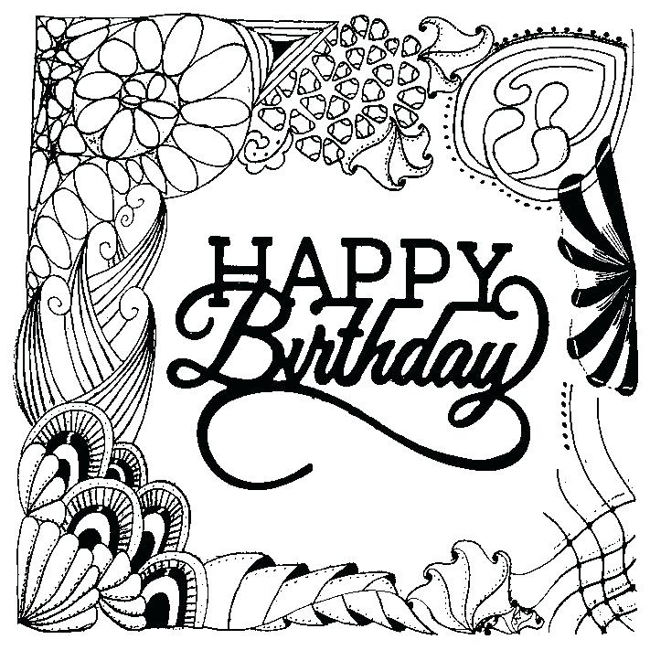 711x711 Adult Coloring Pages Happy Birthday Happy Birthday Coloring Pages