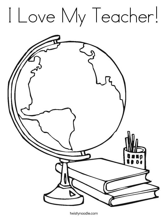 685x886 I Love My Teacher Coloring Page