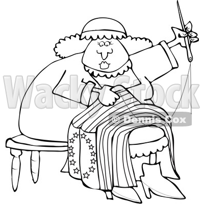 400x400 Of Cartoon Blacknd White Lineart Woman, Betsy Ross, Sewing