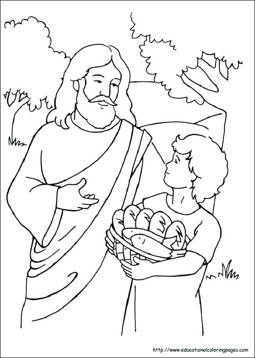 500x700 Jesus Feeds Coloring Pages Feeds Coloring Pages Bible Crafts