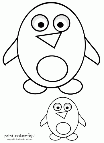 363x500 Big Little Cute Cartoon Penguins Coloring Page