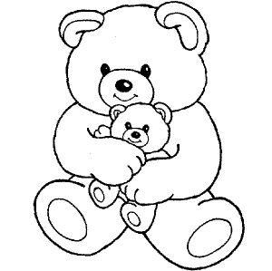 300x299 Big Teddy Bear Hugging Little Teddy Bear Coloring Page Para