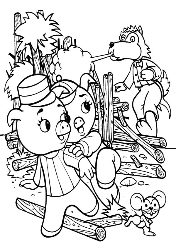600x834 Three Little Pigs Runaway From Big Bad Wolf Coloring Pages Batch