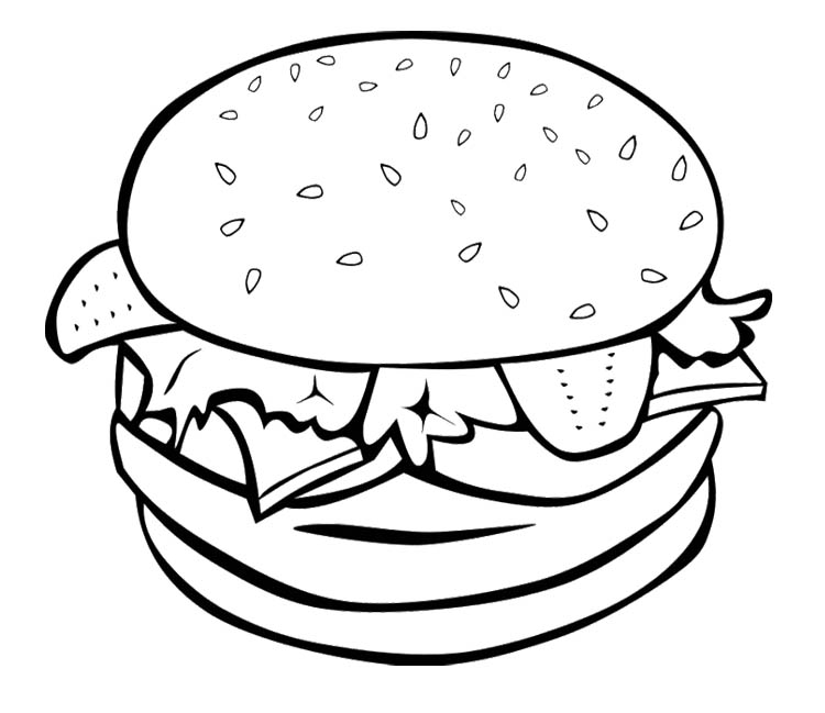750x649 The Big Burger For Fast Food Coloring Page Printables