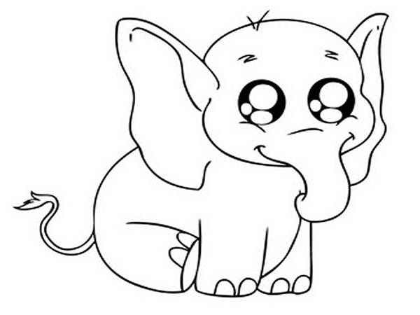 600x450 Big Eyed Elephant Coloring Page