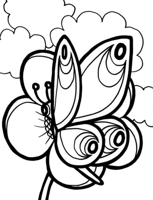 600x787 Butterfly On Flower Coloring Pages
