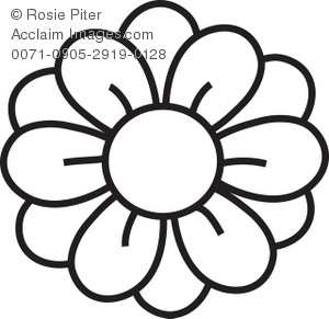 300x291 Clipart Illustration Of A Flower Coloring Page Drawing