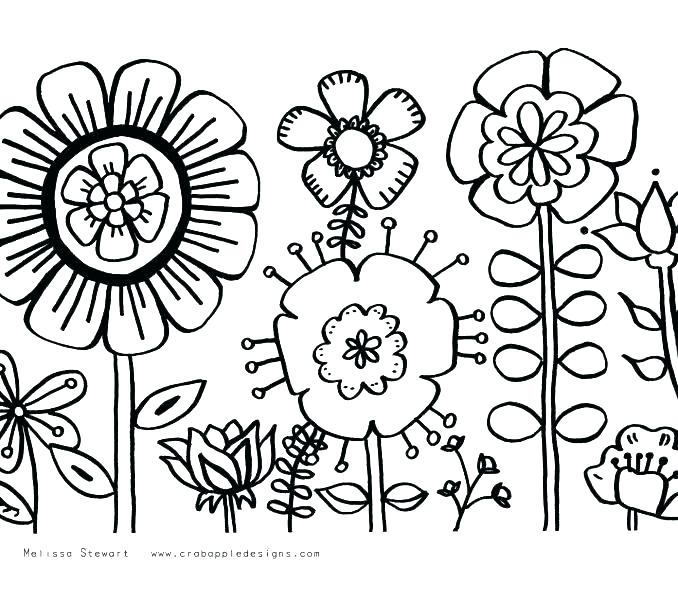 678x600 Free Printable Flower Coloring Pages For Adults As Well As Big