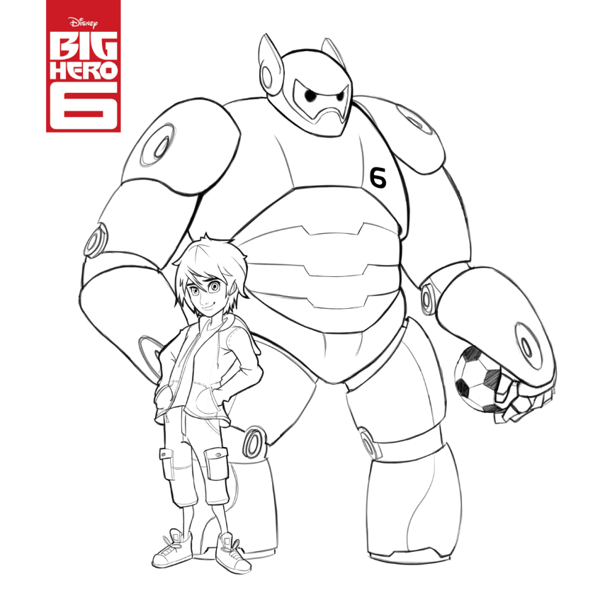 854x854 Big Hero Coloring Pages