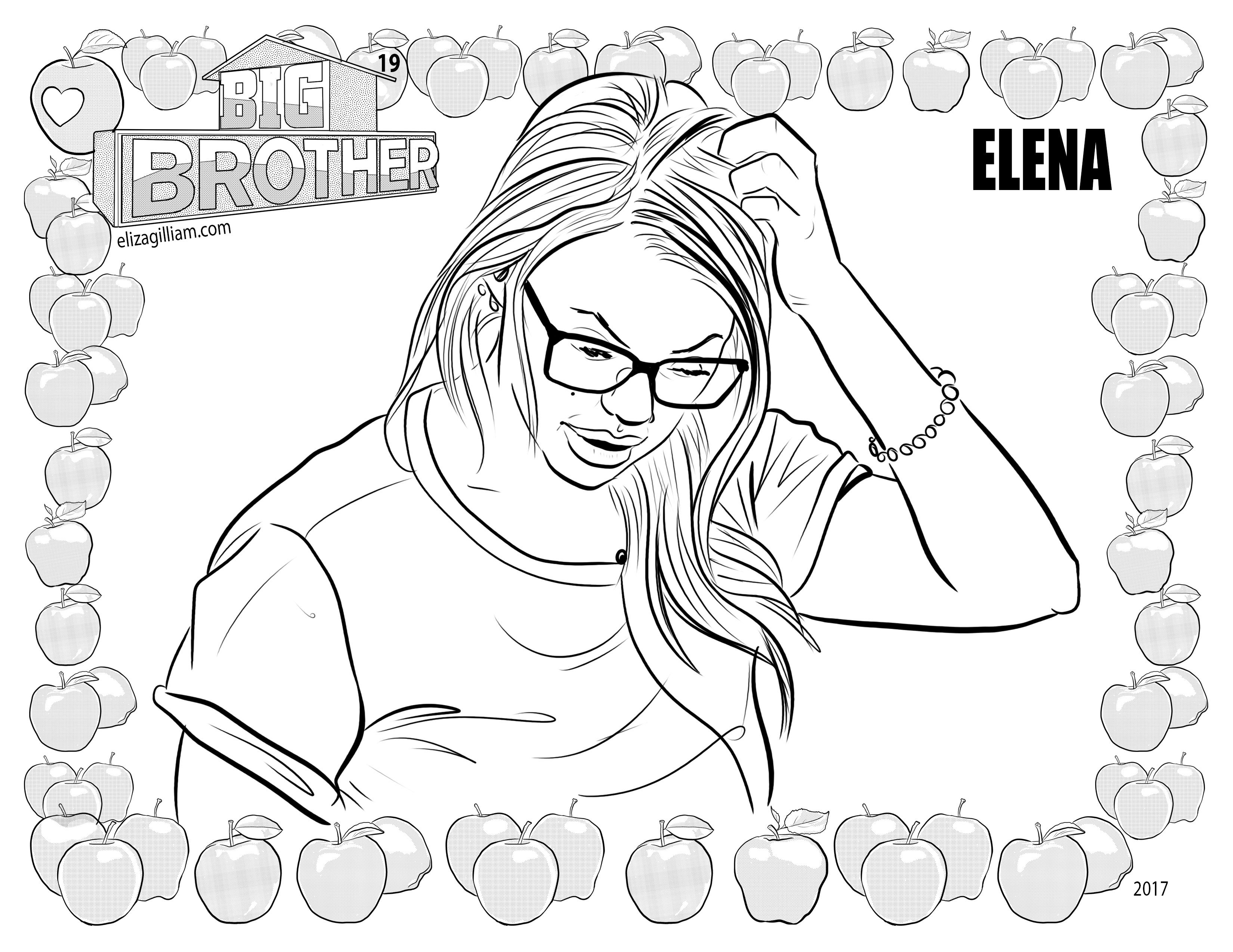 3300x2550 Cbs Big Brother House Guest Elena Davies Coloring Page For Fans