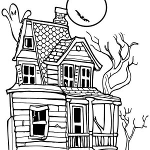 300x300 Fashionable Inspiration Haunted House Coloring Pages To Print