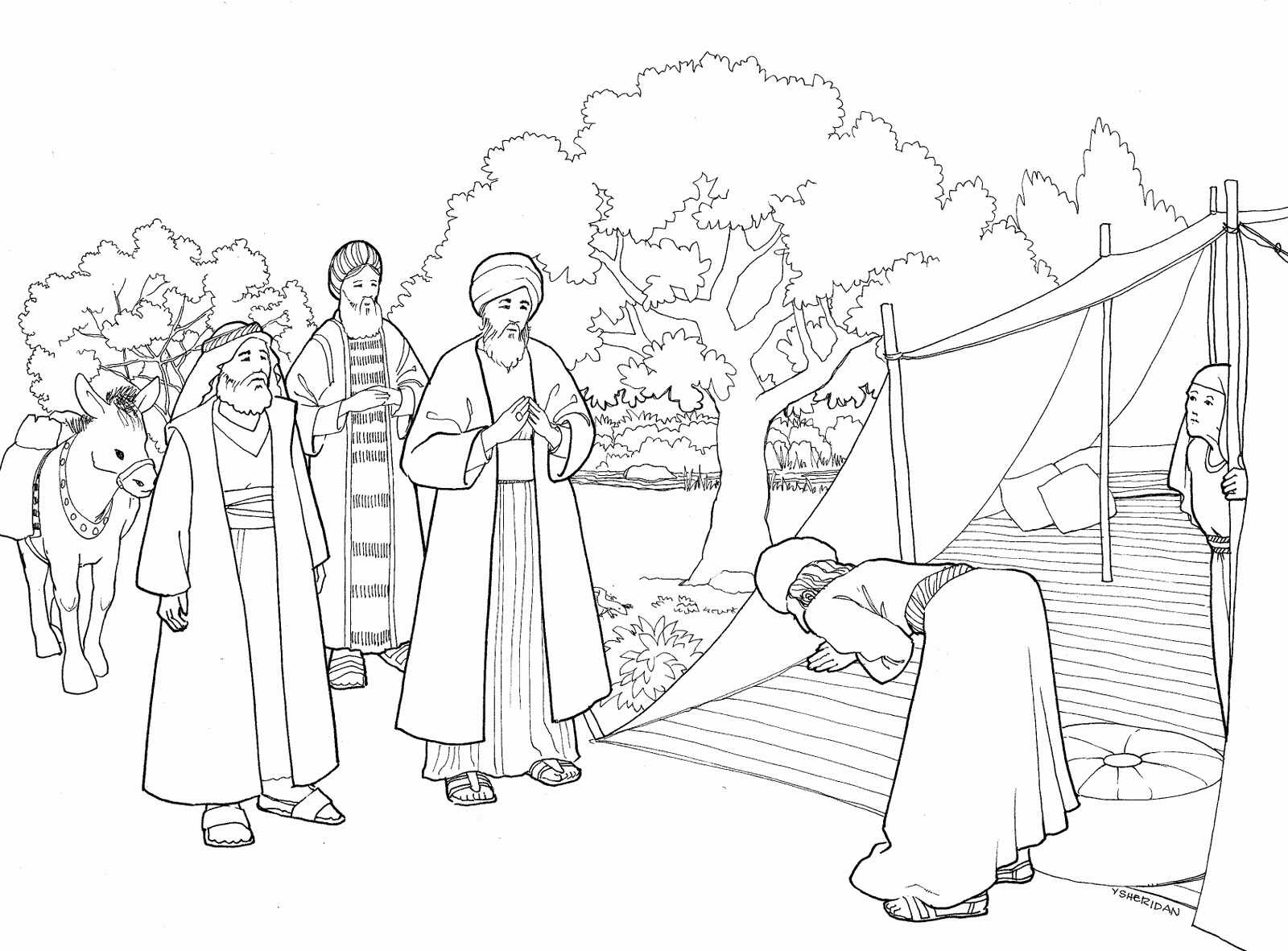 1600x1181 Abraham And Three Visitors Coloring Page Coloring Page Big House