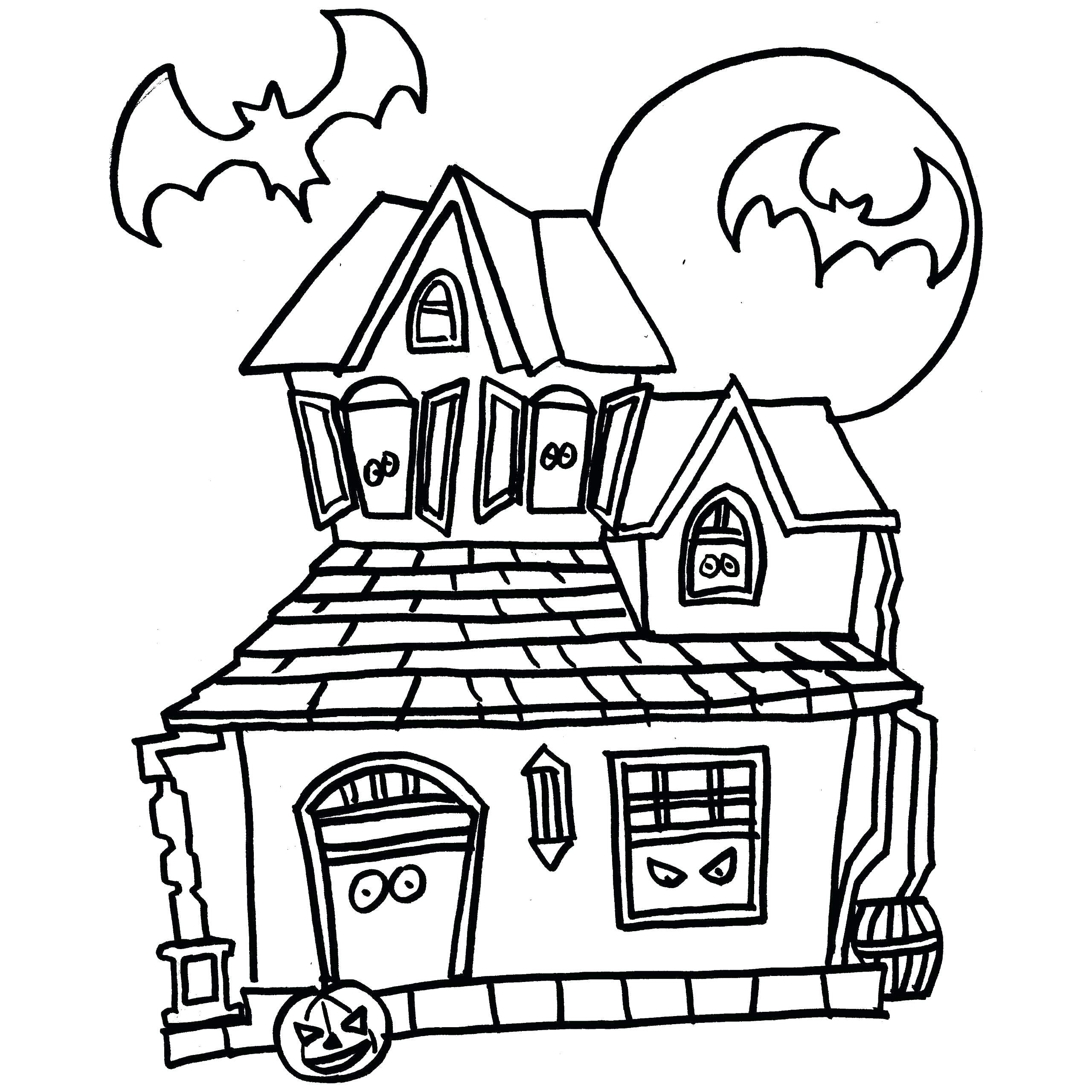 2560x2560 Halloween Big Haunted House Coloring Pages For Adults Amazing Acpra