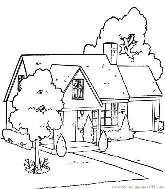 670x765 House With Big Barn Houses Coloring Page House With Big Barn