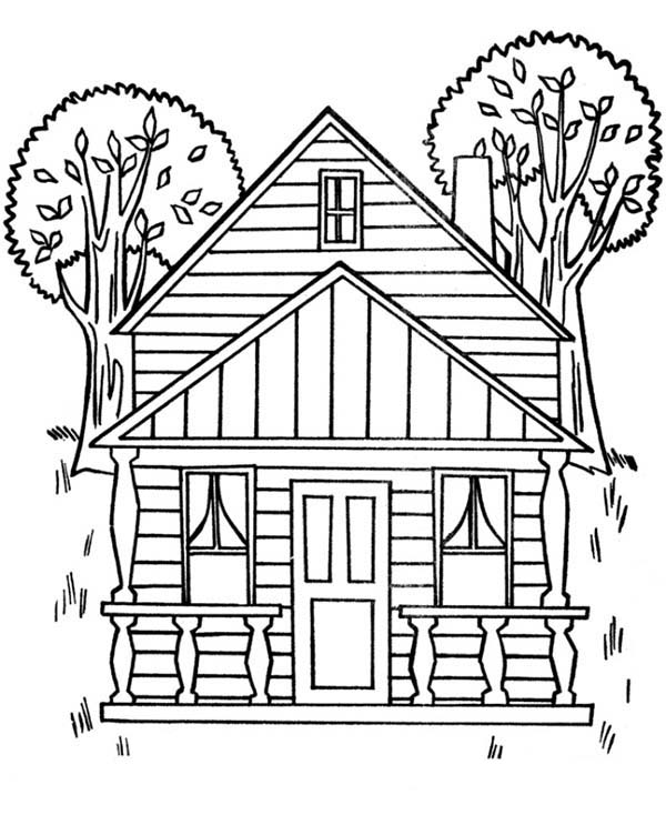 600x734 Houses With Two Big Trees Coloring Page Color Luna