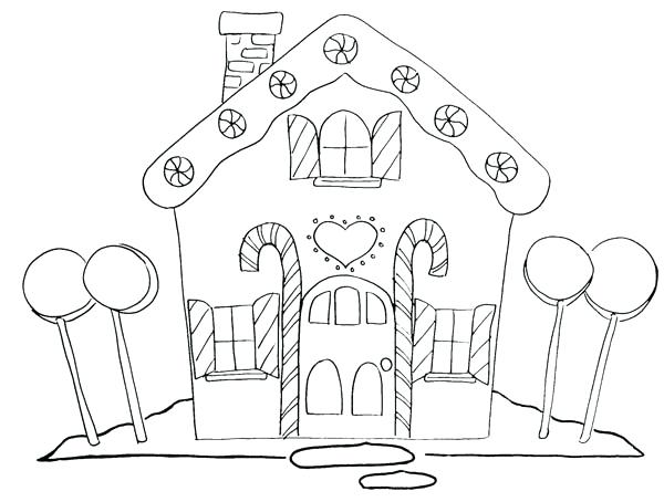 600x454 Lollipop Coloring Pages Gingerbread House And Four Big Lollipop