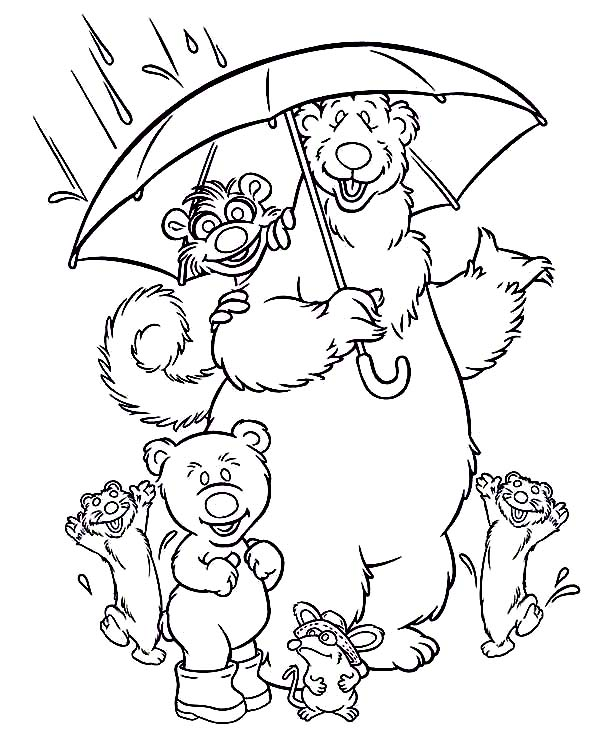 600x754 Bear Inthe Big Blue House And Friends Under The Rain Coloring