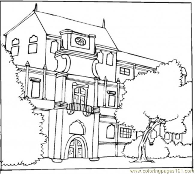 650x581 Beautiful Bungalow Coloring Page