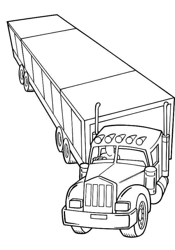 600x859 Coloring Pages Printable Big Rig Drawing At Free For Personal Big