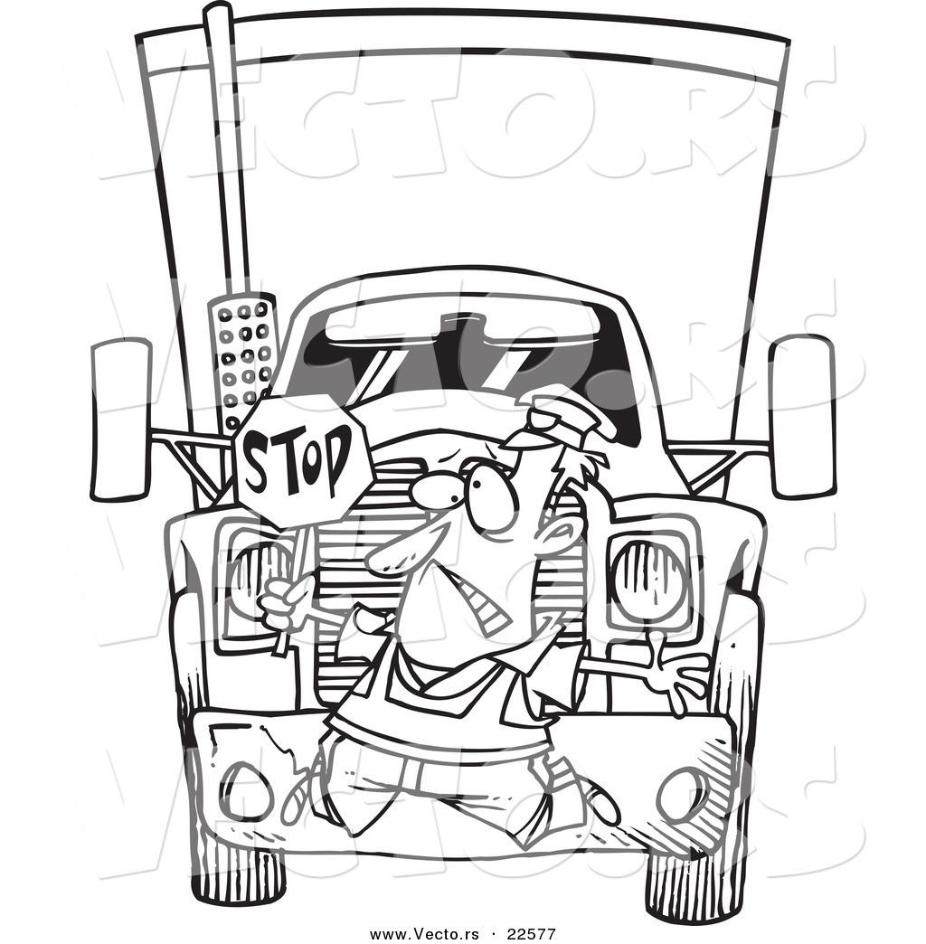 1024x1044 Vector Of A Cartoon Big Rig Hitting A Crossing Guard