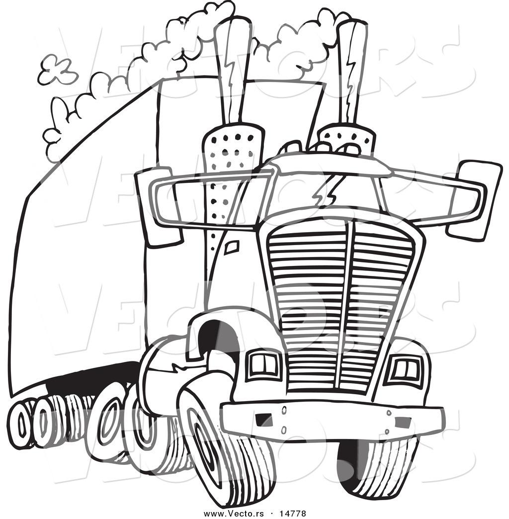 1024x1044 Vector Of A Cartoon Big Rig Releasing A Lot Of Exhaust